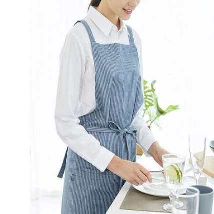 [iTEAMCOOK] Crossover Apron - blue stripe
